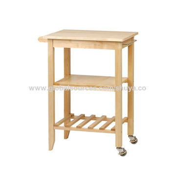 China Factory Solid Wood Cart With Ceramic Top Wire Basket Kitchen Trolley Wheels