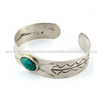 India Lovely Turquoise Cuff Bracelet 925 Sterling Silver Gemstone Jewelry