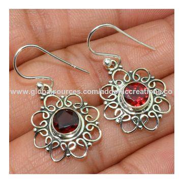 India Beautiful Garnet Gemstone Silver Earrings 925 Sterling Jewelry Indian