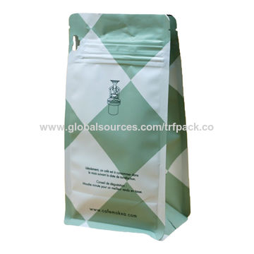 China Coffee Bag With Valve And Zip Flat Bottom Pull