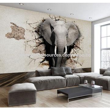 China Lifelike Animal 3d Elephants Wallpaper Customized Living Room