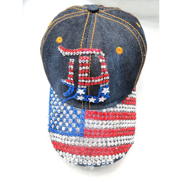 ... China Women s denim America bling baseball cap rhinestone words hats  and caps lady spring ... ac644cbec3
