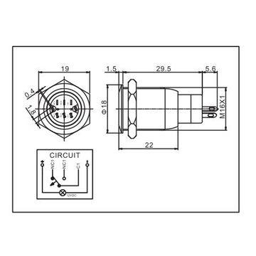 China 16mm illuminated pushon switch with 4 wiring leads ... on