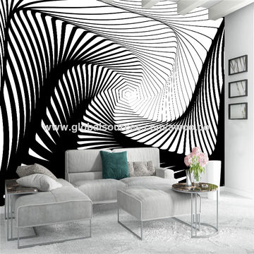 China Custom Background 3d Wallpaper Black White Stripe Art Wall
