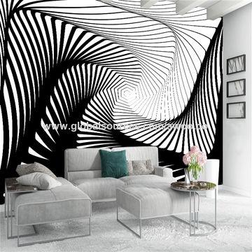 China Custom Background Wallpaper Black White Stripe Art Wall Poster Bedroom Murals Modern Home Decor