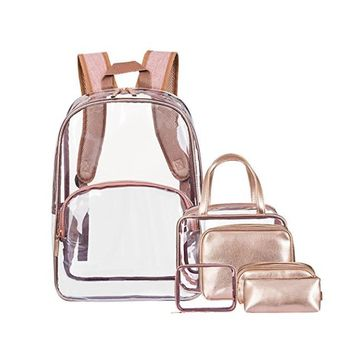 56fe6fd64735 ... China 6 in 1 Clear Backpack with Cosmetic Bag   Case