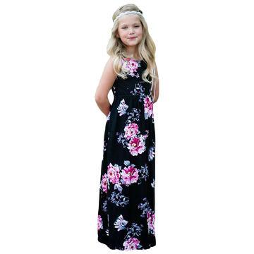 703db4e6cdd7 ... China Black Floral Print Sleeveless Little Girls' Maxi Dress, Made of  95% Polyester