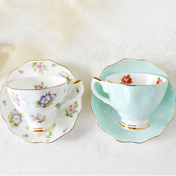 China 3 Tiers Ceramic Dessert Tray Porcelain Cake Plates Stand Flower Tea Sets Cups Saucers