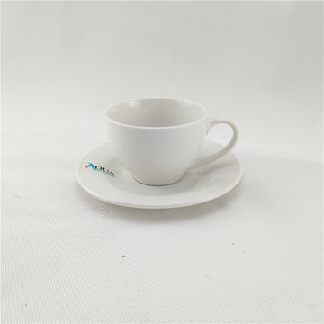 China 220ml Plain White Porcelain Coffee Cup Saucer Sets Brown Box Ng