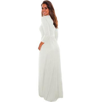 bc4a661761e5 ... China Ladies Casual Pocket Design 3/4 Sleeves Maxi dress,Made of 95% ...