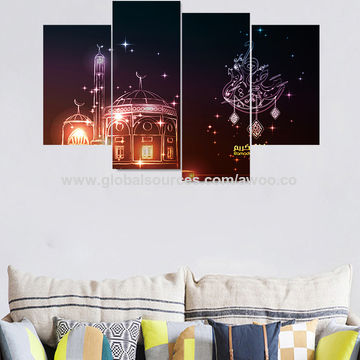 china 5pcs/set 3d muslim style diy art wall mural stickers ramadan