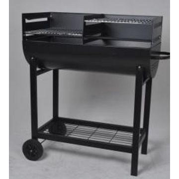 Park Style Charcoal Grill Smoker With Double Fire Bowls And One Bottom Shelf
