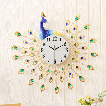 ... China Art Craft Novelty Peacock Wall Clock Decorative Silent For Living  Room ...