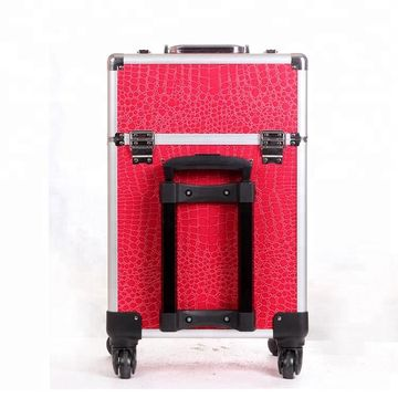 97a93c549f9 ... China Rolling red leather aluminum trolley travel makeup cosmetics  trolley case ...