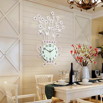 China Art Craft Big Size White Crystal Round Metal Home Decor Wall