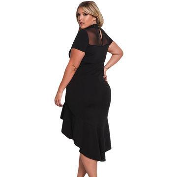 China Fashion Mesh Insert Ruffled Hi-low Hem Plus Size Dress, Made ...