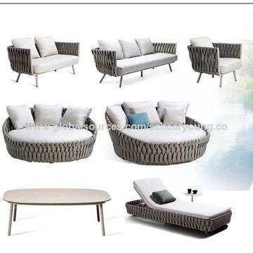 China Rope Outdoor Garden Loveseat Aluminium Sofa Lounge Outdoor 3