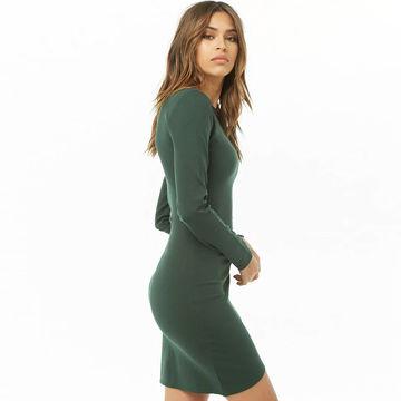 7d51d3b8 ... China Dark green sheath dress long sleeves round neck autumn lady dress  ...