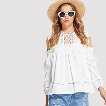 48dbfb0362 ... China Apparel Summer Blusas Off Shoulder Ladies Elegant White Lace  Woman Blouse Tops ...