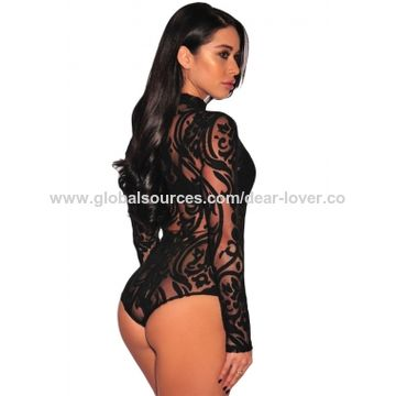 1d1e325e5da7 China Sexy Black Print Long Sleeves Bodysuit Lingerie, Sexy Lingerie ...
