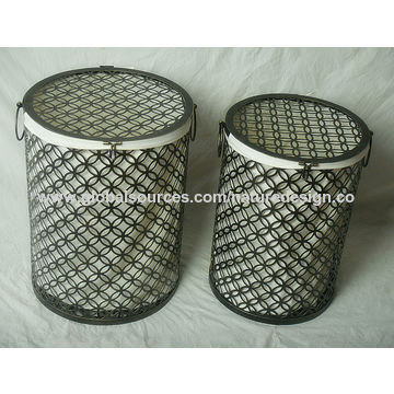 China Bronze Round Hamper With Liner Round Laundry Hampers Clothes