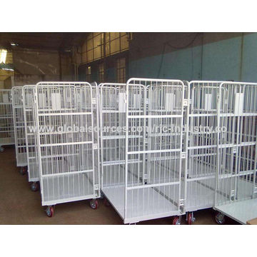 China Warehouse steel folding logistic rolling cage trolley