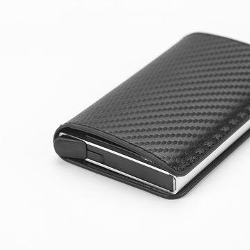 f5497d1e6fef ... China Carbon Fiber Men's leather ID credit card holder RFID blocking  Wallet protector money clip pop ...