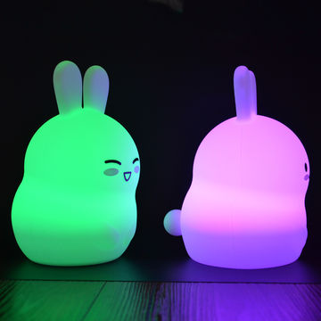 China Seven Color Changing Fun Cute Rabbit Shape Led Night Lights For Kids Bedroom Decoration