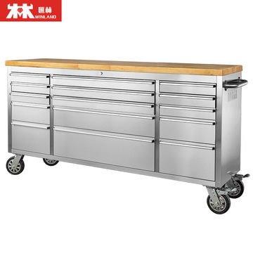 China 56 Inch Metal Tool Chest Tool Cabinet Trolley With Wood Top