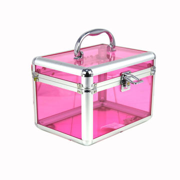 de0750fd4 ... China Portable pink aluminum acrylic makeup cosmetic train case ...