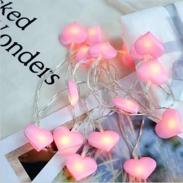 China Battery Operated Red Heart Shaped Led String Lights For Bedroom