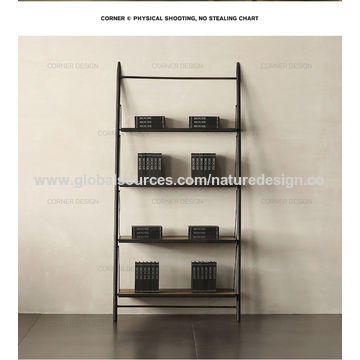China Retro solid wood partition shelf floor industrial wind ...