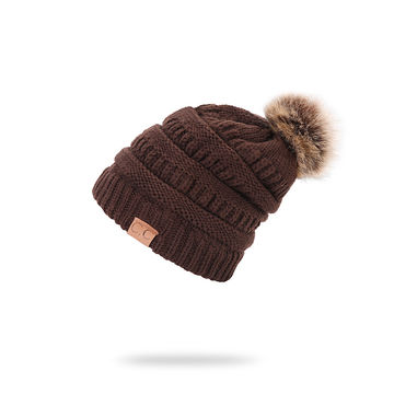7fdfda367d5c4 ... China QUEENFUR Women Knit Slouchy Beanie Chunky Baggy Hat with Faux Fur  Pompom Winter Soft Warm ...