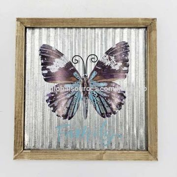 China Butterfly Wooden Frame Galvanized Sheet Metal Wall Decor Home