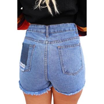 eaf51c32a6 China Women Denim Wash Blue High Waist Destroyed Jean Shorts on ...
