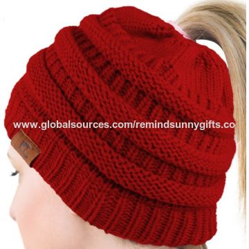 feddf6f848689 ... China Women s Winter Fleece Lined Cable Knitted Pom Pom Beanie Hat with  Hair ...
