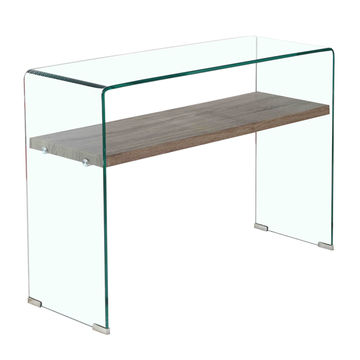 Remarkable China Popular Tempered Glass Console Table With Wooden Shelf Home Remodeling Inspirations Genioncuboardxyz
