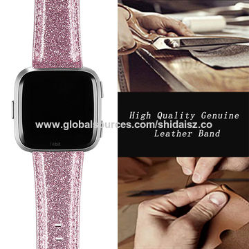 China Bands for Fitbit Versa,Glitter PU Leather Bling Wristband