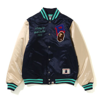 China Custom Men Color Block Casual Satin Fabric Varsity