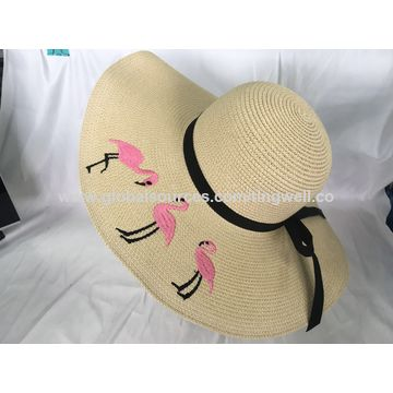 a7e615f2 China Straw Hat Paper Hat with embroidery in wide brim on Global Sources