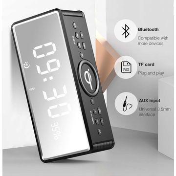 China Portable FM radio alarm clock wireless charger BT HIFI