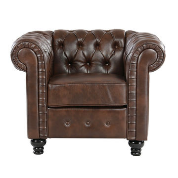 China American style leather Button Tufted sofa luxury classic sofa ...