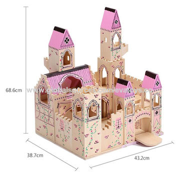 China Wooden Folding Medieval Castle Toys For Kids Measures 458