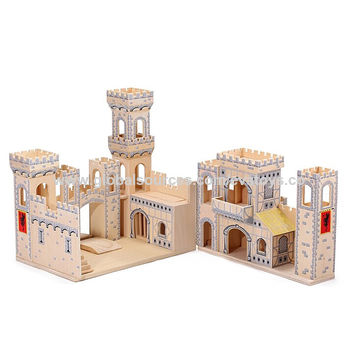 China Wooden Folding Medieval Castle Toys Measures 455425455cm