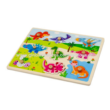 China 2019 New design kids 3d wooden dinosaur puzzle game