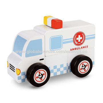 China 2018 new small ambulance toys wooden doctor cart toy for kids