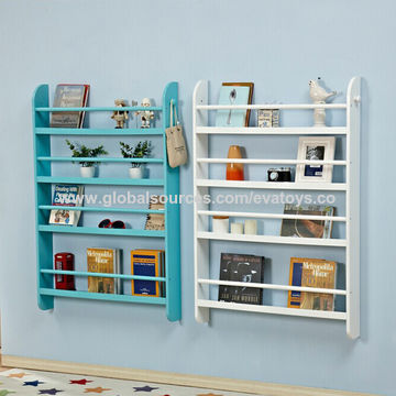 China Customized Modern Rack Storage Wooden Kids Wall Bookshelf With 4 Tiers W08c250