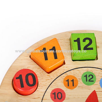 China New hot educational clock wooden 3D wooden puzzles for