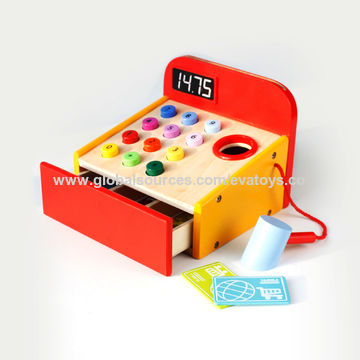 China Promotional Gift New Wooden Pretend Play Toy Cash Register For
