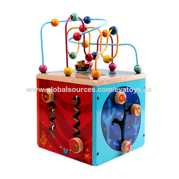 China Best Design Educational Wooden 5 In One Activity Cube For Kdis